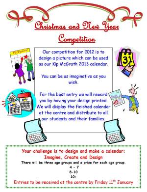 Here are the details of our competition. You have until January 11th to design something amazing that we can use for our 2013 calendar. Good luck